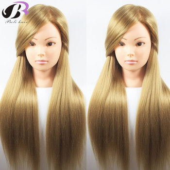 Boli Best 65CM 100% High Temperature Fiber Blonde Hair Training Head Hairdressing Practice Training Mannequin Doll Head For Sale sale 100
