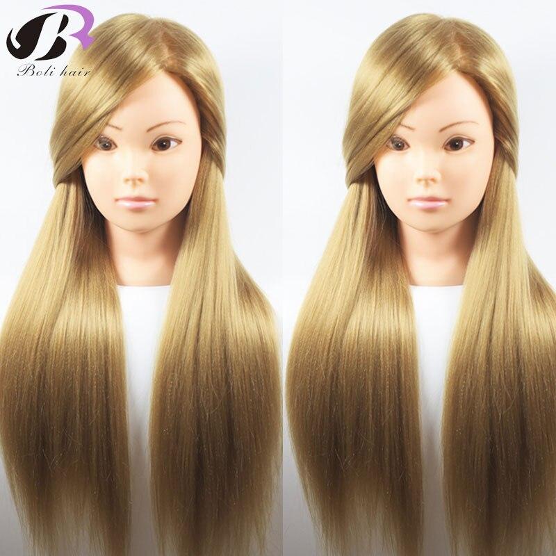 Boli Best 65CM 100% fibra de alta temperatura pelo rubio entrenamiento peluquería jefe práctica maniquí cabeza de muñeca para la venta