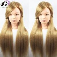 Boli Beste 65CM 100% Hoge Temperatuur Fiber Blonde Haar Opleiding Hoofd Kappers Praktijk Training Mannequin Pop Hoofd Voor Verkoop
