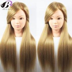 Boli melhor 65 cm 100% de alta temperatura fibra loira cabeça formação cabelo cabeleireiro prática treinamento manequim boneca cabeça para venda