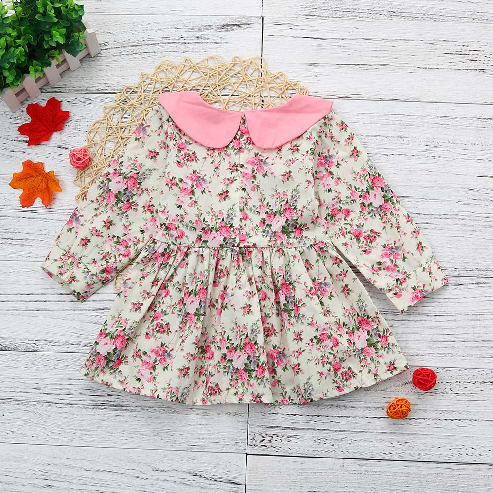 Toddler Baby Gils Long Sleeve Floral Splice Dress Sundress Clothes OCT27