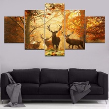 Deer Fall Forest Home Decor Modern Wall Decor Canvas Painting Canvas Room 5 Piece HD Print Animal Paintings Wall Art Artwork