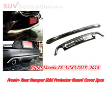 For Mazda CX-3 CX3 2015 2016 2017 2018  Stainless Steel Exterior Trim Front+ Rear Bumper Skid Protector Guard Cover 2pcs