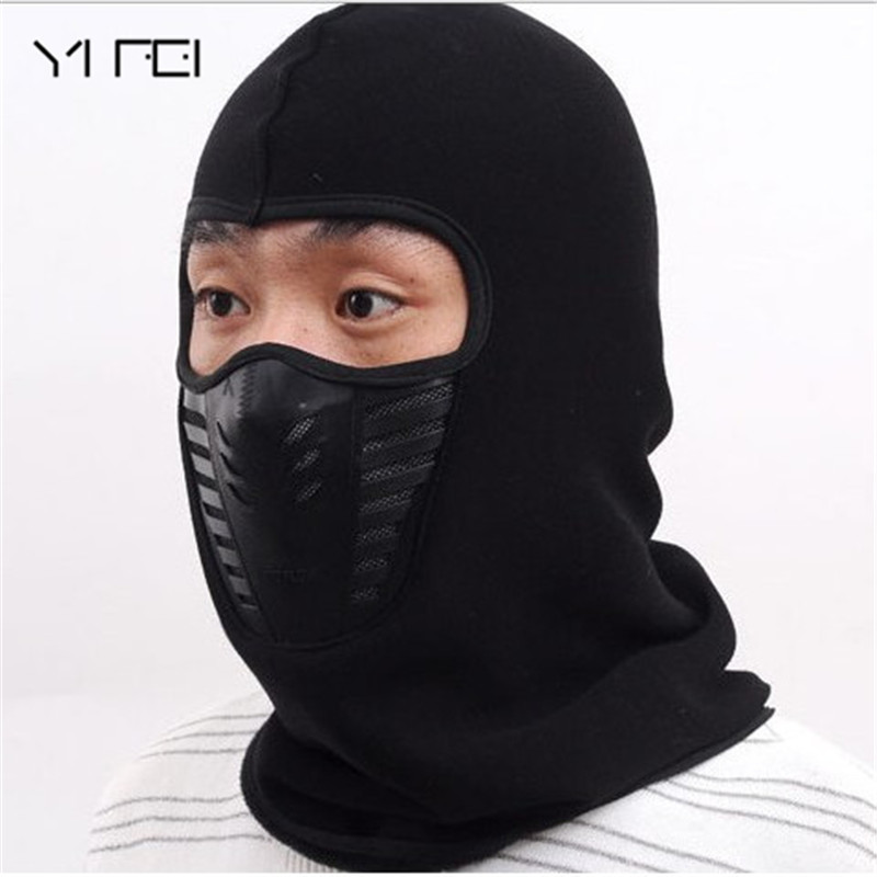 YIFEI High Quality Winter Bicycle Windproof Motorcycle Face Mask Hat Neck Helmet Cap Thermal Fleece Balaclava Hat For Men Women cuhakci 2017 winter heating neck fleece hat headwear winter skiing ear windproof face mask motorcycle bicycle scarf