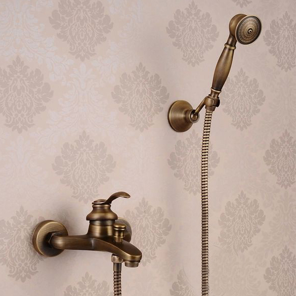 Wall Mounted Antique Brass Bathtub Faucet Shower Mixer Tap Set Dual Cross Handle Bath Faucets Tap Handle Free Shipping HJ-6046 antique bathroom single handle wall mounted bathtub shower set mixer set faucet tap bathroom shower free shipping hj 6053