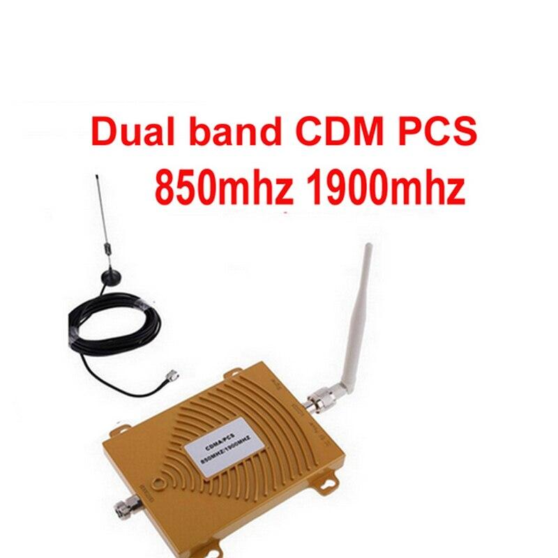 FOR USA 2G Nework Dual Band PCS 1900MHz CDMA 850Mhz Signal Repeater  Phone Signal Booster PCS CDMA Signal Amplifier W/ Antenna