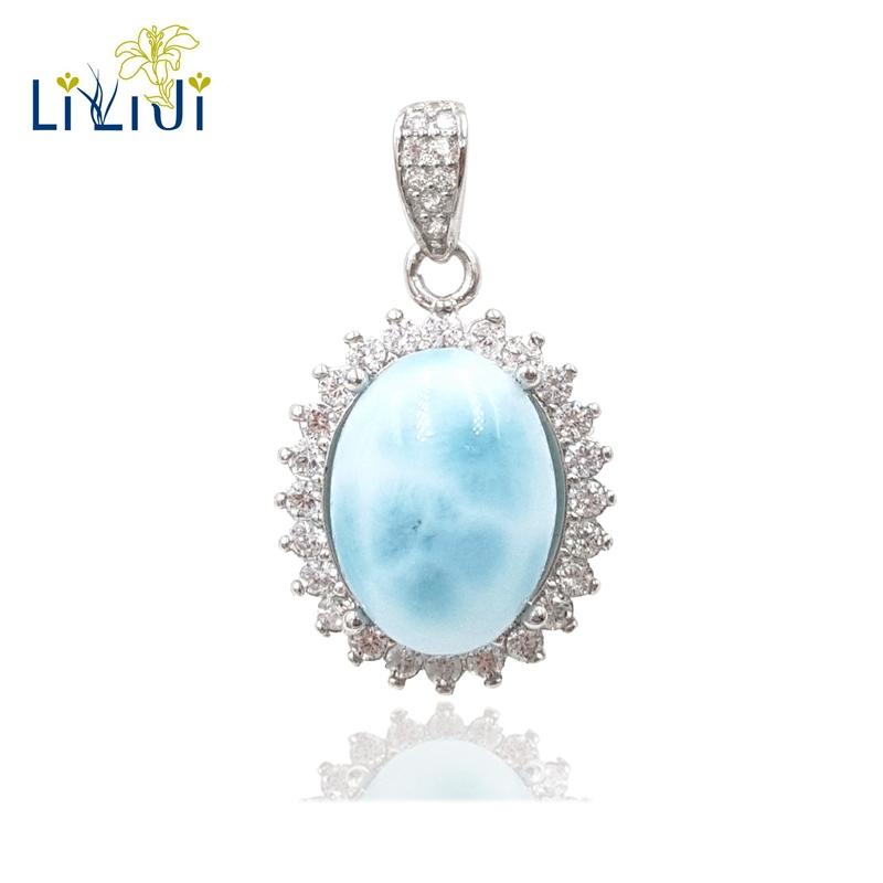 Lii Ji Gemstone Natural Larimar Zircon 925 Sterling Silver Pendant Necklace For Women Party Fashion Jewelry fashion candy color faux gemstone pendant alloy necklace for women