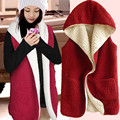 2016 Autumn and Winter Korean Fashion Long Loose Cotton Plus Thick Lamb Plush Vest Hooded Vest Jacket Female B252