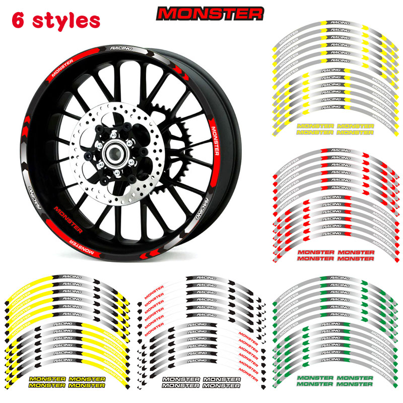 Motorcycle Wheel Sticker Decal Reflective Rim Suitable For DUCATI MONSTER 1200/S/R 821 796 696 1000 900 S4R S4 400 620 695