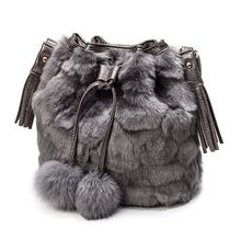 High Quality Women Handbag Faux Fur Bucket Ladies Tote Shoulder Bag Hobo Bags Purse Satchel Crossbody