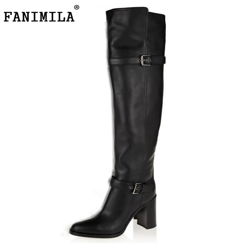 FANIMILA size 31-45 women real genuine leather high heel over knee boots long boot warm botas quality footwear shoes R5391 size 30 45 women real genuine leather flat over knee boots long boot warm winter botas mujer brand footwear heels shoes r7761