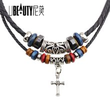 UBEAUTY Fashion Black Collar Neck Chain Sexy Cross Clavicle Wild Temperament Choker Necklace Cowboy Accessories Jewlery For Men(China)