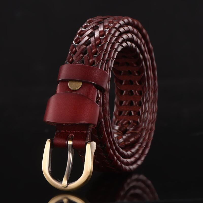 Mens Braided Woven Belts Leather Cow Straps Hand Knitted Designer Belts