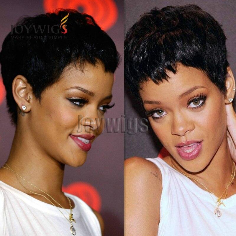 Bob Pendek Gaya Rambut Rihanna Selebriti Rambut Manusia Wig - Gaya rambut pendek rihanna