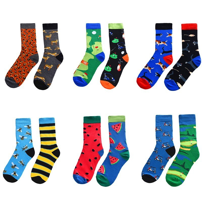 Novelty 1 Pair AB Men Socks Cotton Funny Crew Socks Cartoon Animal Fruit Dog Men Socks Trend Happy Socks For Christmas Gift