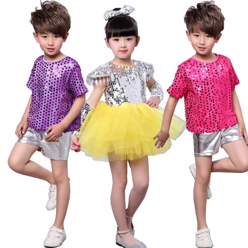 d769669be2cb New Girls Bright Sequined dancing costumes dress Outfits Kids Modern Jazz  Stage wear Party Hip Hop Dance ...