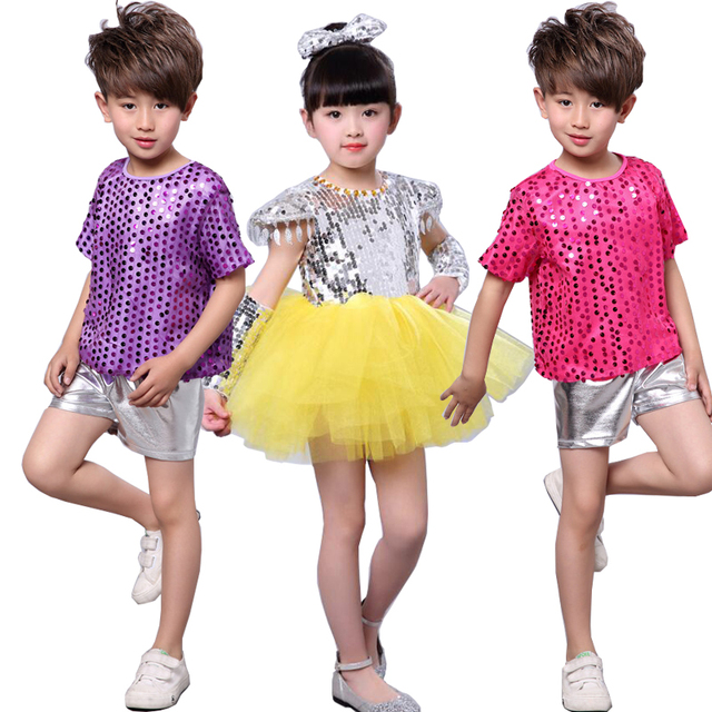3b8eca9ca New Girls Bright Sequined dancing costumes dress Outfits Kids Modern ...