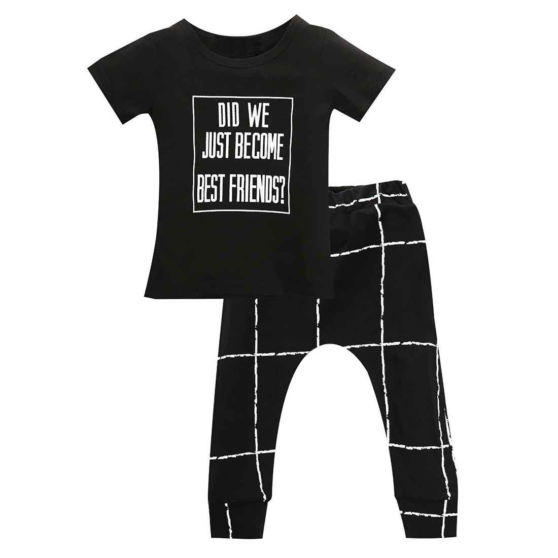 2PCS Infant Newborn Baby Boys Clothes T-shirt Pants Outfits set , Black , 0-6 Months