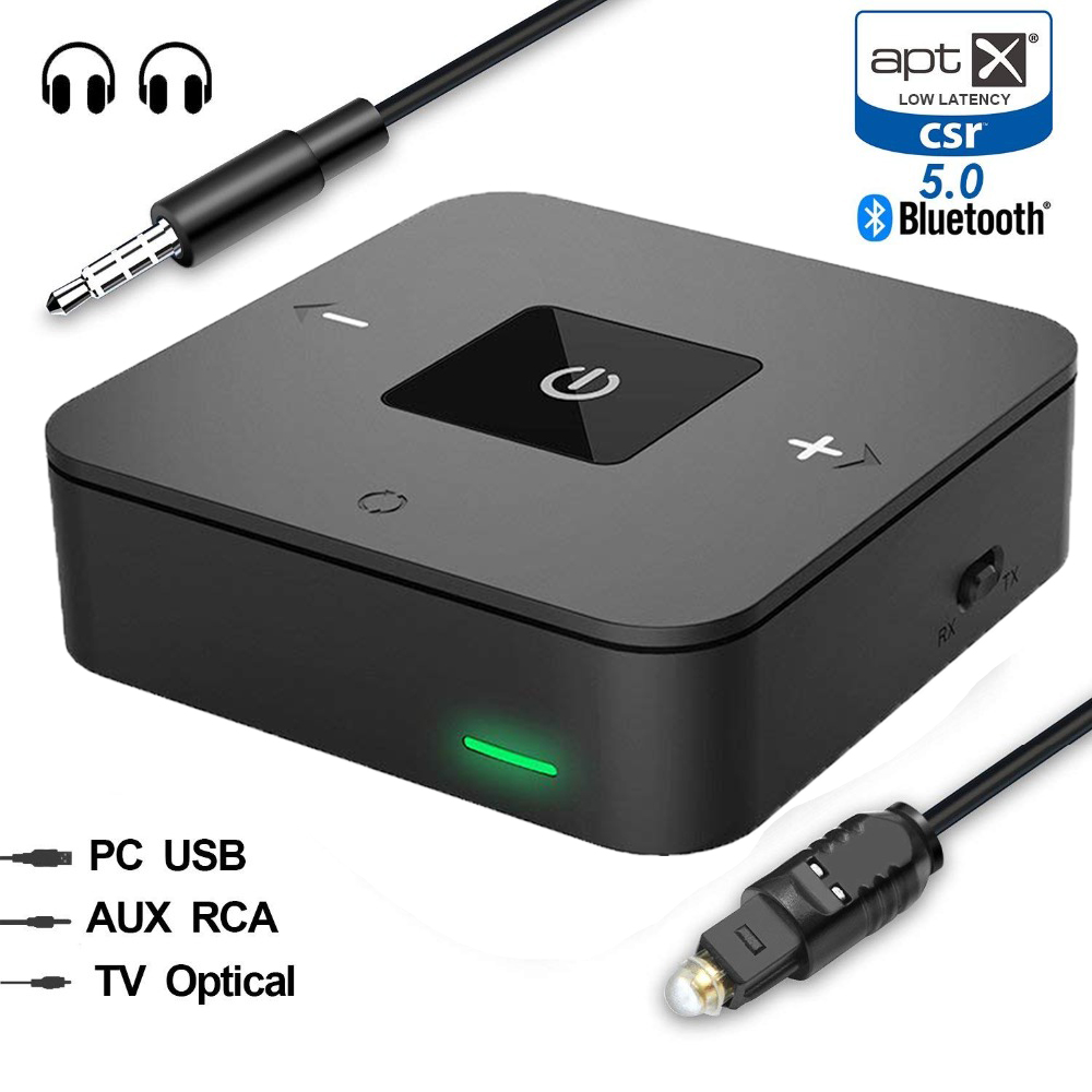 Binyeae Bluetooth 5.0 CSR8675 Aptx HD Low Latency Optical SPDIF Toslink Transmitter Receiver RCA Wireless Audio Music TV Adapter цена 2017