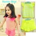 Юмор Медведь мода детская новорожденных девочек одежда летняя одежда девушки набор. T-shirt костюм детская одежда набор детской одежды