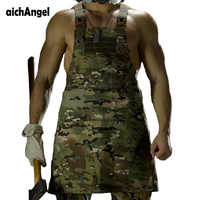 Unisex Sleeveless Tactical Vest Apron Pinafore Camo Technician Mechanic Apron Military Working Multi-pockets Molle Release Apron