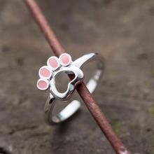 Новинка оригинальные открытые кольца с изображением щенка серебряного