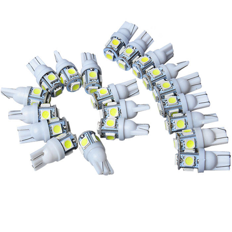100PCS/Lot 12V White Blue Green Yellow Pink Red Ice Blue T10 5smd 5050 LED car Light Canbus W5W 194 5050 SMD For All Wedge Type wholesale 2pcs lot 18w led underground light stainless steel blue green red yellow for private garden spotlight led luminaria