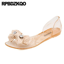 6b63106415bd crystal rubber cute shoes holiday bow soft kawaii jelly cheap women sandals  flat casual slip on diamond transparent clear bowtie