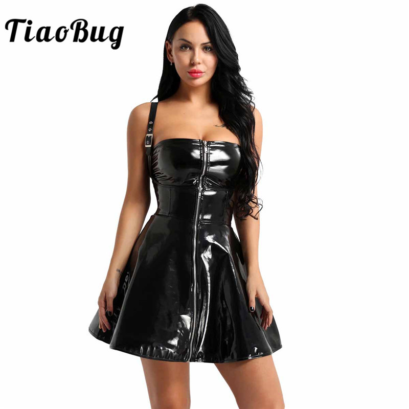 Punk Wash Water Corset Pleated Leather Dress Steampunk Summer Autumn Girls Sexy Hot Mini Dresses Casual Black Strapless Dress Women's Clothing