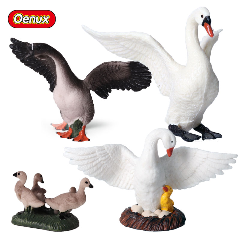 Oenux Simulation Goose Gosling Farm Animals Figurines Swan Garden Decoration PVC Action Figures Toy For Kids Birthday Gifts