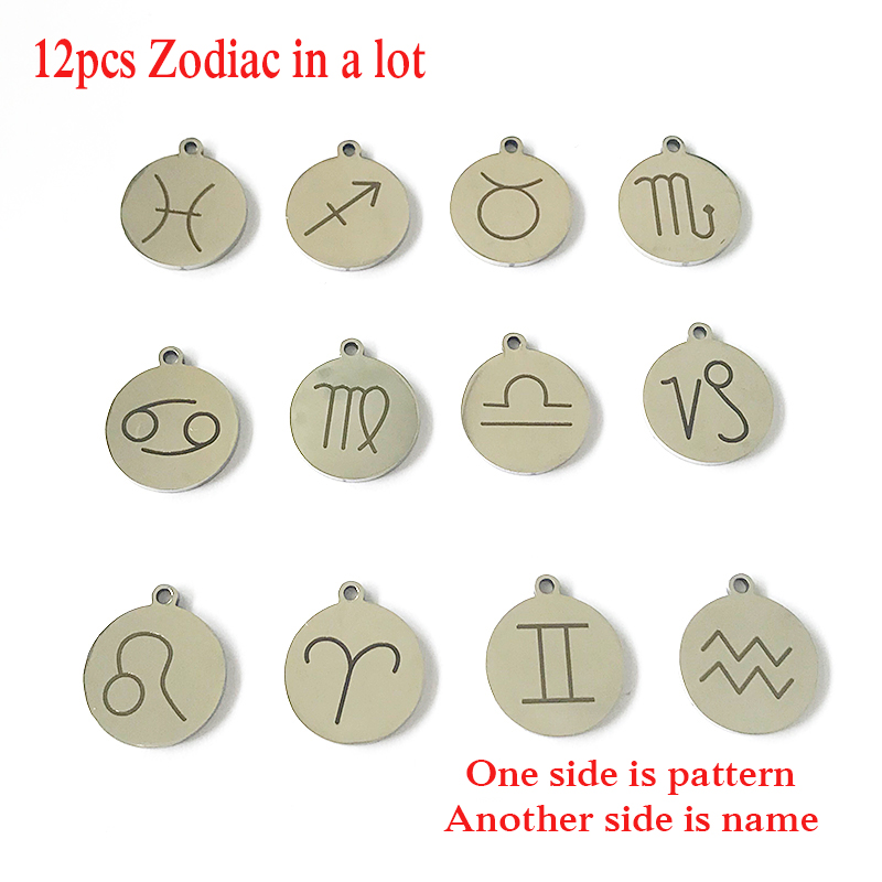 12pcs/lot 18mm Top Stainless Steel Material DIY Constellations 12 Signs Zodiac Charm for Making Jewelry Bracelets & Bangles Gift