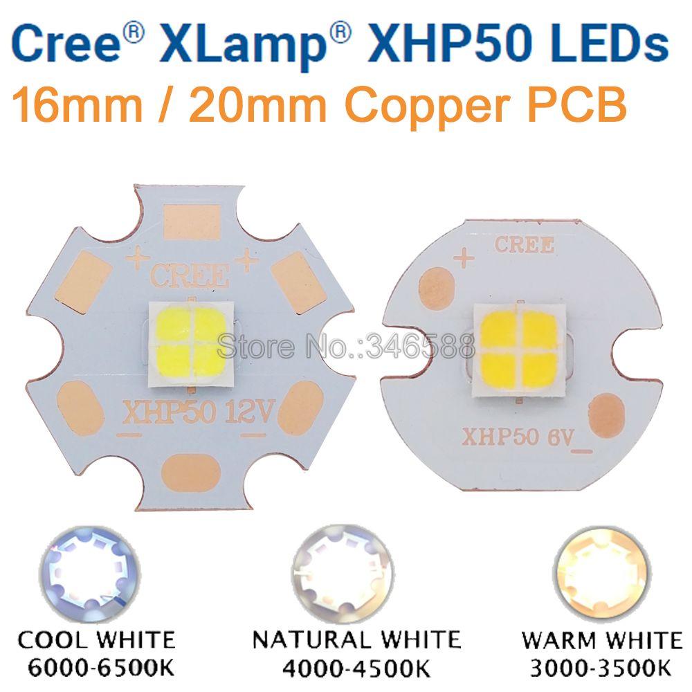 CREE XHP50 XHP-50 Cold White 6500K Neutral White 5000K Warm White 3000K LED Emitter Diode 6V 12V On 16mm 20mm Cooper PCB