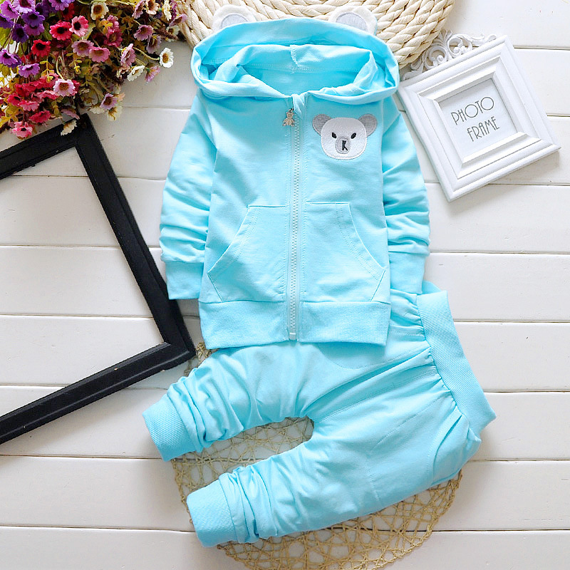 2016 spring autumn new children set baby boy clothing sets suit cartoon dog and cow velvet hoodie sweater set kids clothes set
