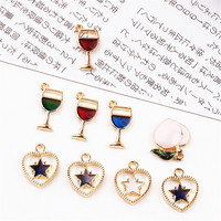New 50PCs Wine Cup Charm Pendant Gold Color Plated Alloy Enamel Fruit Peach Stars Heart Pendants Charm Craft Fit Necklace