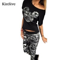 2017 Women Summer Fashion Camouflage Mouse Print Short Sleeve T-Shirt + Pants Two Piece Tracksuits Sets Casual Sporting Suit