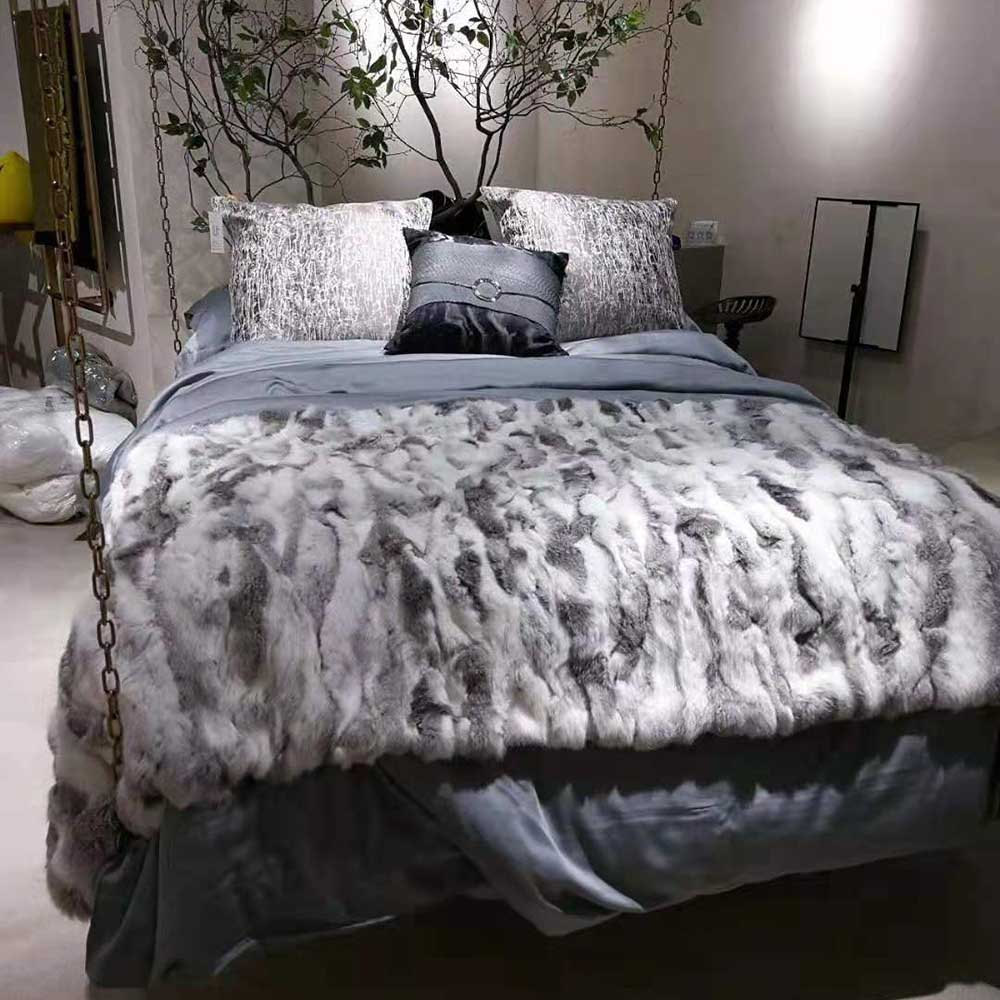 Ms. softex cobertor de pele de coelho natural retalhos de pele de coelho real jogar fábrica oem cobertor de pele almofadas de pele de coelho macio cobertor