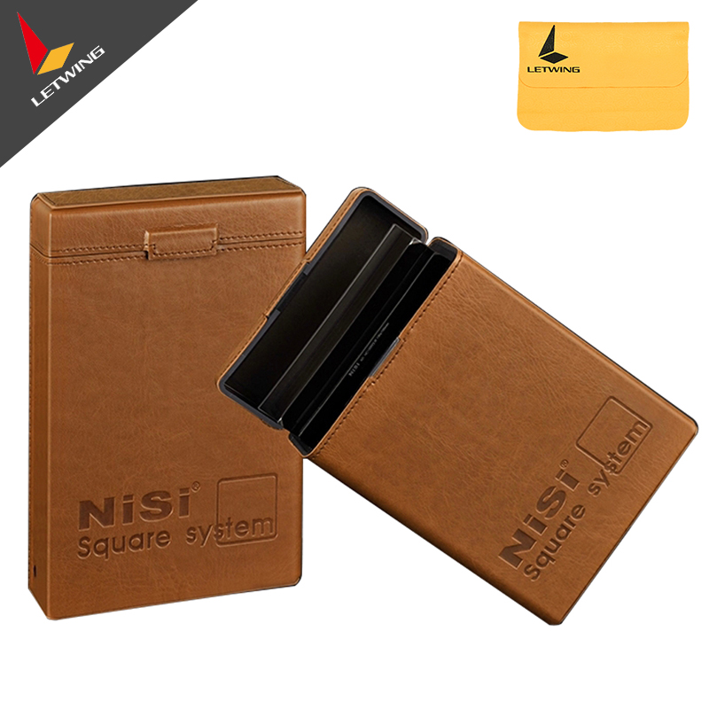 NiSi Portable Leather <font><b>Filter</b></font> Storage <font><b>Box</b></font> Pouch Case Bag for up to <font><b>6</b></font> Square <font><b>Filters</b></font>, fits 100mm Graduated Square <font><b>Filter</b></font>