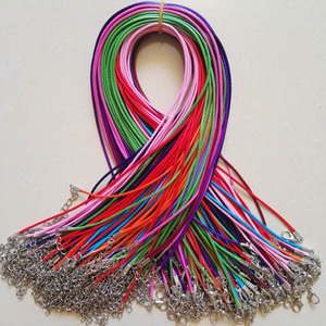Image 2 - Broche de langosta de 1,5mm, 100 unidades de cuerda de cuero de cera mixta, collar, colgante de cuerda de 45cm, joyería diy, colgantes, venta al por mayor