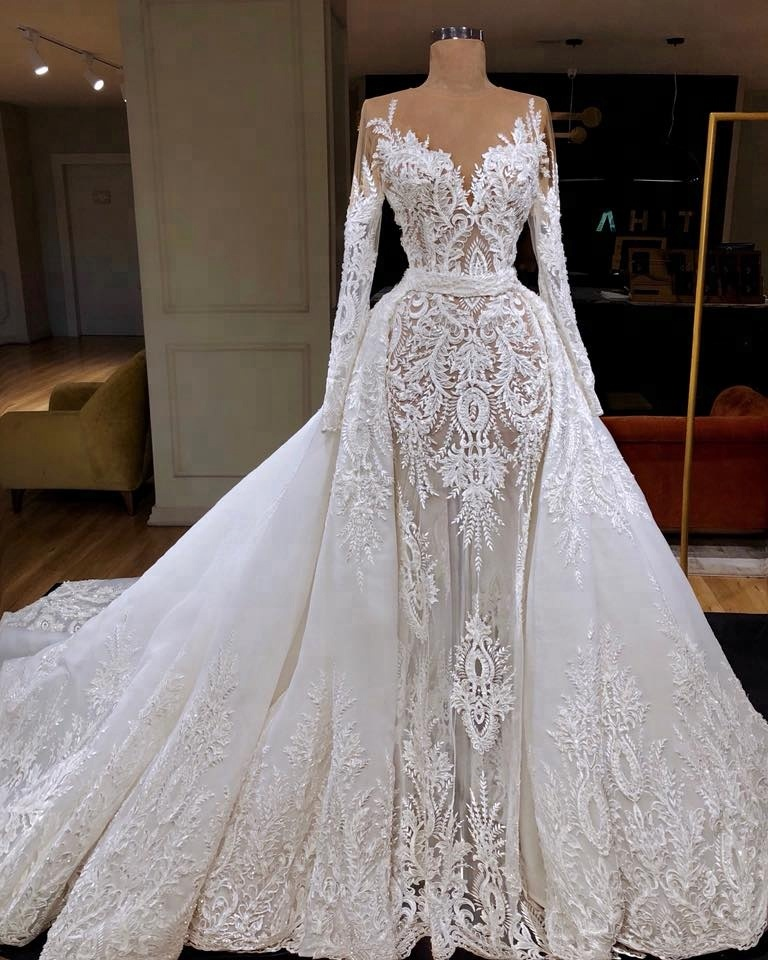 Us 600 0 Luxury Mermaid Wedding Dress With Detachable Overskirt Transpa Long Sleeve High Quality Lace Bridal Gowns In Dresses From