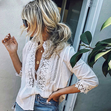 Dropshipping Women Lace Hollow Blouses 3/4 Sleeve Ladies White Shirt