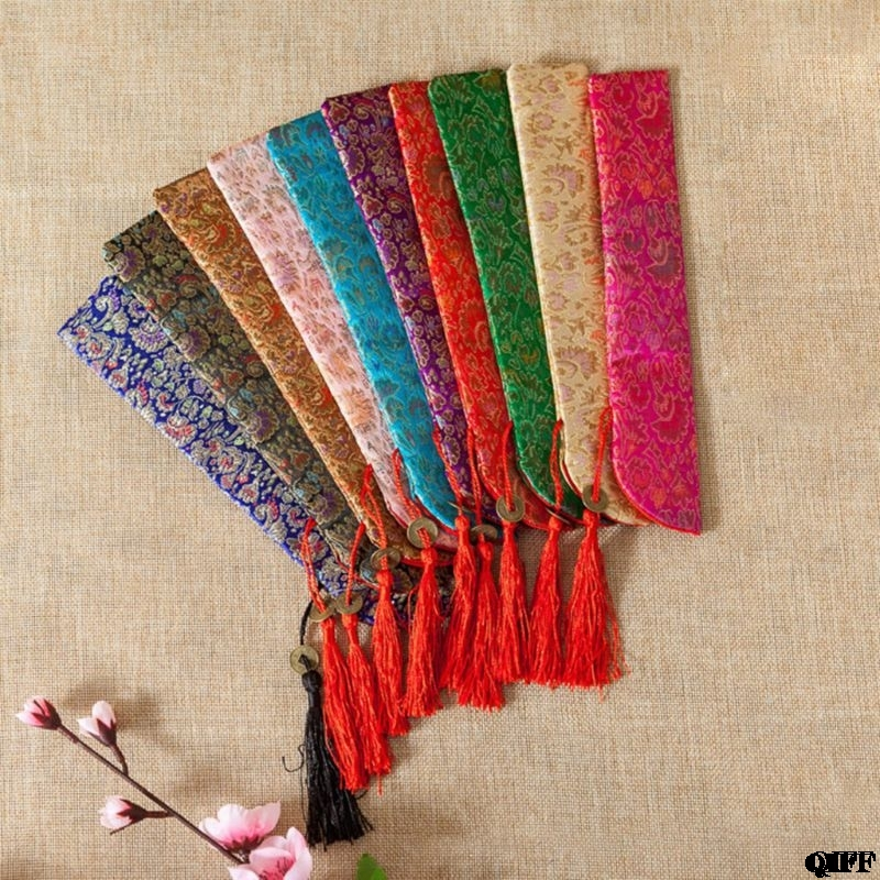 Drop Ship&Wholesale Silk Folding Chinese Hand Fan Bag With Tassel Dustproof Holder Protector Pouch Case Cover Retro Style APR28