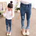 Dressnomore New 2017 Spring Girls Ripped Jeans High Waist Skinny Kids Tight Jeans Fringing Leggings Denim Pant Trousers for Girl