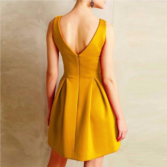 Women Dress Elegant Casual Party Dresses Red Yellow Purple Sleeveless Deep V Neck Formal Short Mini Dress 2018 Woman Dresses  2