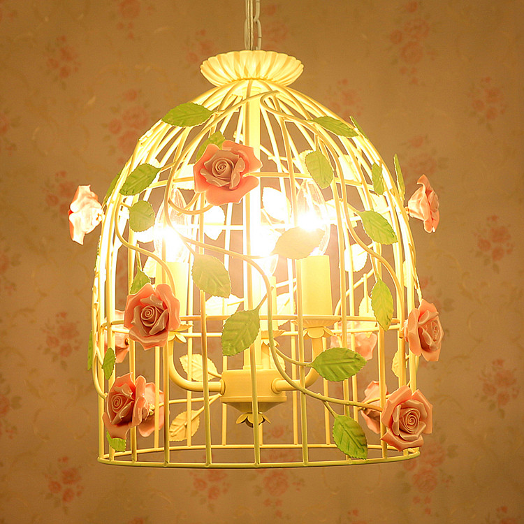 Creative personality Cages Chandelier Garden Pastoral Simple Style Living Room Flower Restaurant Children Chandelier ZA622 ZL176 vintage clothing store personalized art chandelier chandelier edison the heavenly maids scatter blossoms tiny cages