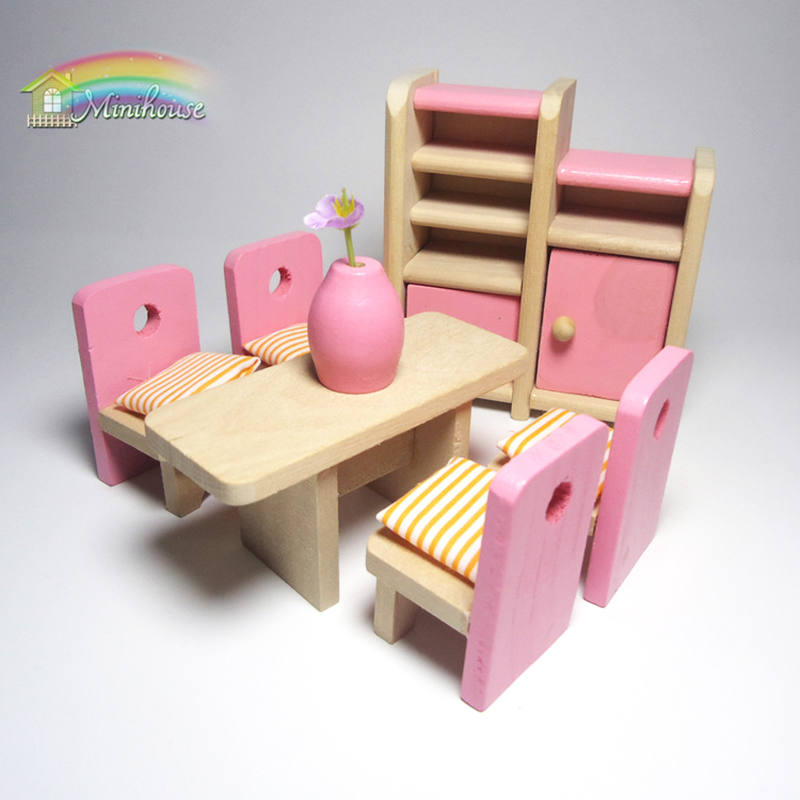 Retro Doll House Miniature Master Room Wooden Furniture Set Kid Pretend Play Toy