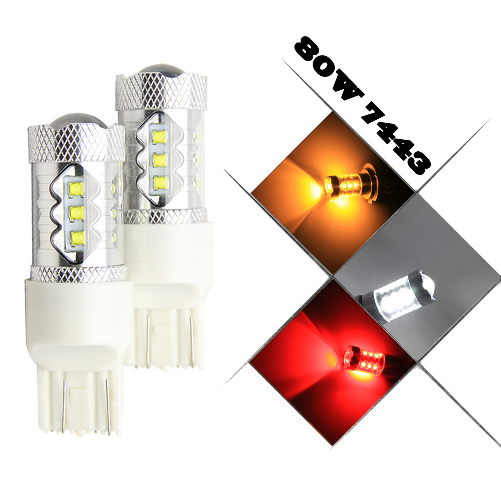 2x White/Red/Amber Error free 80W High Power 16 CREE Chip 7443 T20 LED Bulbs For Front or Rear Turn Signal Stopping Lights
