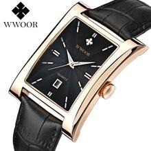 Vestido de luxo relógios dos homens de negócios de quartzo-relógio relógio de quartzo homens pulseira de couro relogio masculino Retângulo do vintage