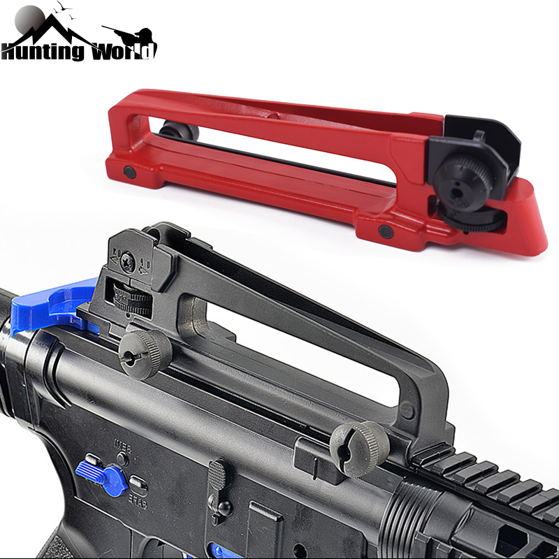 Tacitcal Detachable Adjustable Quick Release Carry Handle w/ Dual Aperture A2 Rear Iron Sight for Airsoft M4 M16 AR15 Hunting