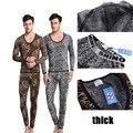 Shino Cotton Men Thermal Set Underwear Wild Leopard Print Suit Keep Warming Long Johns Pants Long Shirt Winter Sleepwear M-XL