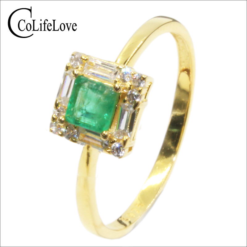 Royal design silver emerald ring 4mm 4mm Princess Cut natural Columbia emerald Solid 925 silver emerald